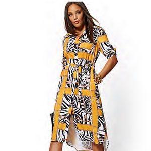 NY &Co Mixed Print Button Down Midi Dress NWWT SzS